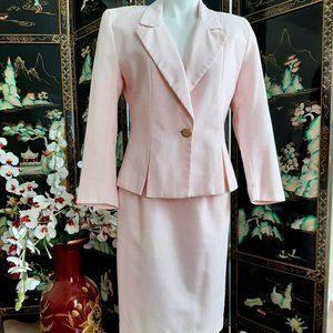 Vintage Linen-look Pink Skirt Suit